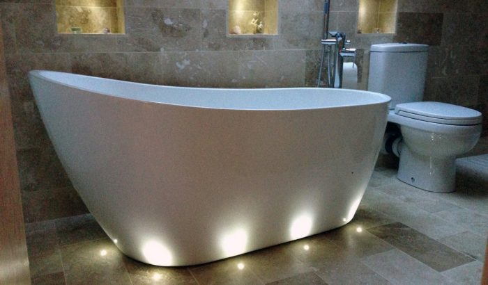 This angle really catches the tranquilising effect of the lights around the free standing tub!